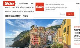 Una App, sprechi Italia.it e l'Italia eletta Migliore Destinazione al Mondo The Sun Awards 2020